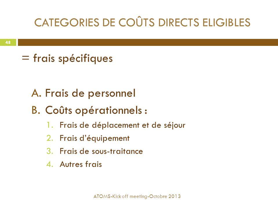 CATEGORIES DE COÛTS DIRECTS ELIGIBLES = frais spécifiques A.Frais de personnel B.Coûts opérationnels : 1.Frais de déplacement et de séjour 2.Frais d'é