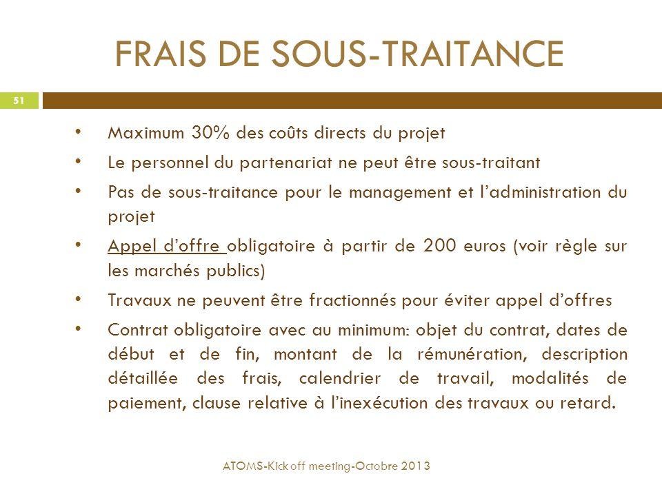 FRAIS DE SOUS-TRAITANCE Maximum 30% des coûts directs du projet Le personnel du partenariat ne peut être sous-traitant Pas de sous-traitance pour le m