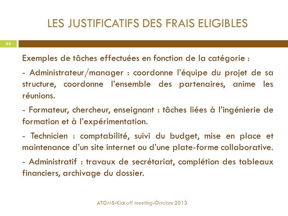 LES JUSTIFICATIFS DES FRAIS ELIGIBLES Exemples de tâches effectuées en fonction de la catégorie : - Administrateur/manager : coordonne l'équipe du pro