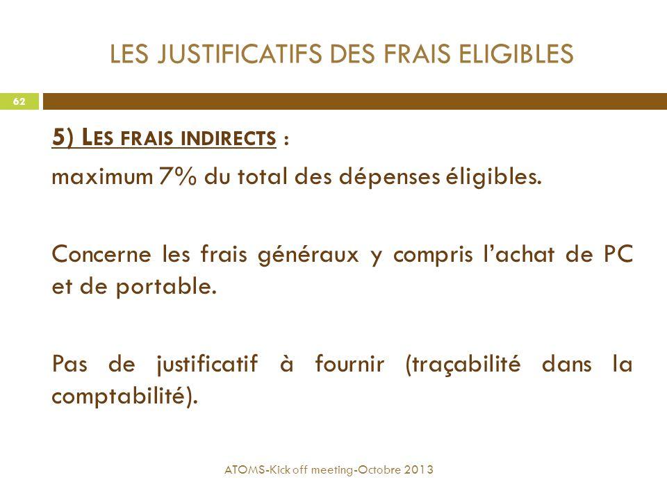 LES JUSTIFICATIFS DES FRAIS ELIGIBLES 5) L ES FRAIS INDIRECTS : maximum 7% du total des dépenses éligibles. Concerne les frais généraux y compris l'ac