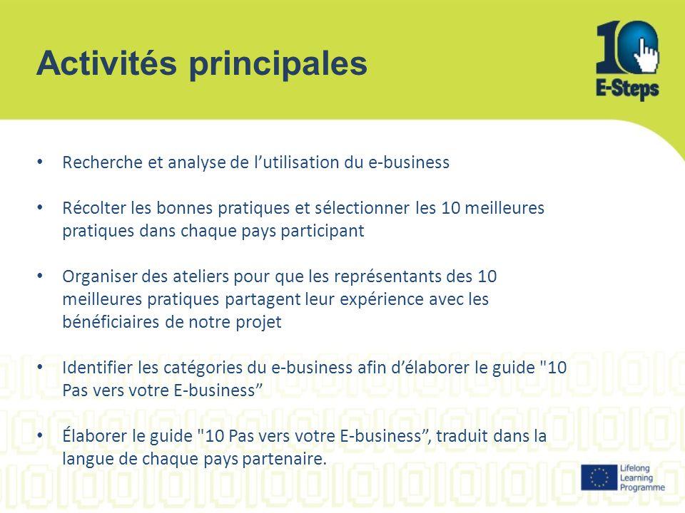 Activités principales Recherche et analyse de l'utilisation du e-business Récolter les bonnes pratiques et sélectionner les 10 meilleures pratiques da