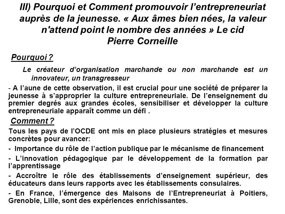 III) Pourquoi et Comment promouvoir l'entrepreneuriat auprès de la jeunesse. « Aux âmes bien nées, la valeur n'attend point le nombre des années » Le