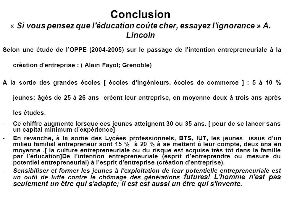 Conclusion « Si vous pensez que l'éducation coûte cher, essayez l'ignorance » A. Lincoln Selon une étude de l'OPPE (2004-2005) sur le passage de l'int