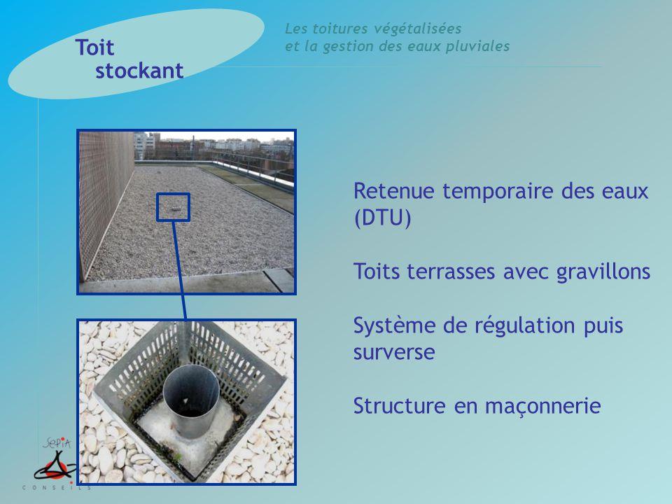 Les toitures végétalisées et la gestion des eaux pluviales Retenue temporaire des eaux (DTU) Toits terrasses avec gravillons Système de régulation pui