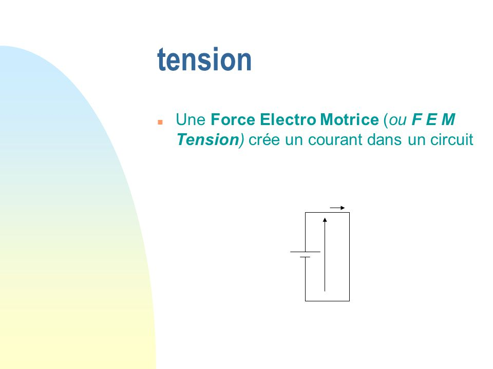 tension n Une Force Electro Motrice (ou F E M Tension) crée un courant dans un circuit