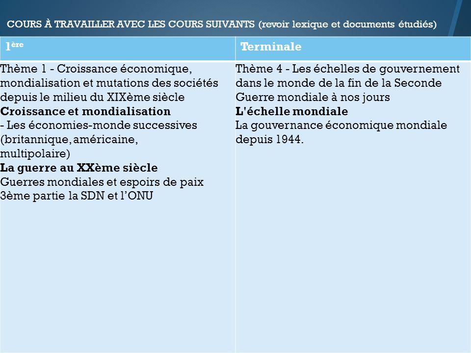 COURS À TRAVAILLER AVEC LES COURS SUIVANTS (revoir lexique et documents étudiés) 1 ère Terminale Thème 1 - Croissance économique, mondialisation et mu