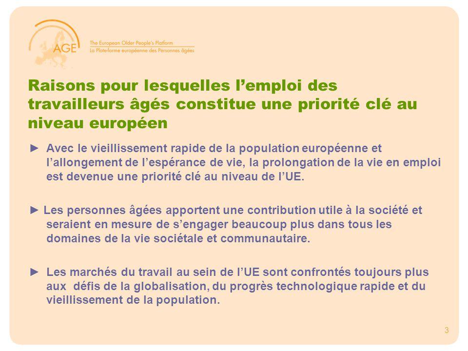 4 Le contexte européen de l'emploi des personnes âgées ►Législation en matière d'égalité : disposition relative à l'âge Directive relative à l'égalité raciale Directive relative à l'égalité dans l'emploi ►Disposition dans l'Agenda de Lisbonne Stratégie révisée de Lisbonne pour la croissance et l'emploi 2005- 2010 Stratégie européenne sur l'emploi (SEE) Lignes directrices sur l'emploi ► Le Sommet de printemps 2008
