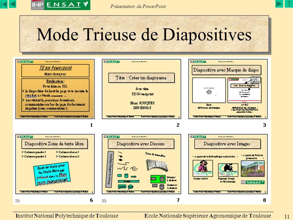 Présentation de PowerPoint Institut National Polytechnique de Toulouse Ecole Nationale Supérieure Agronomique de Toulouse 11 Mode Trieuse de Diapositi