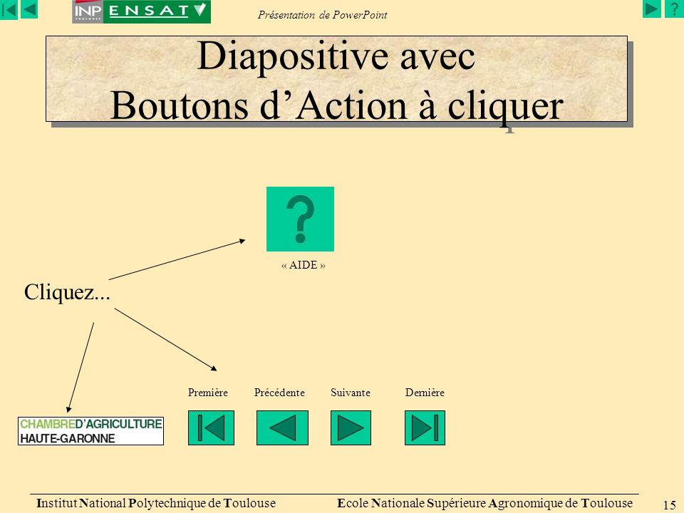 Présentation de PowerPoint Institut National Polytechnique de Toulouse Ecole Nationale Supérieure Agronomique de Toulouse 15 Diapositive avec Boutons