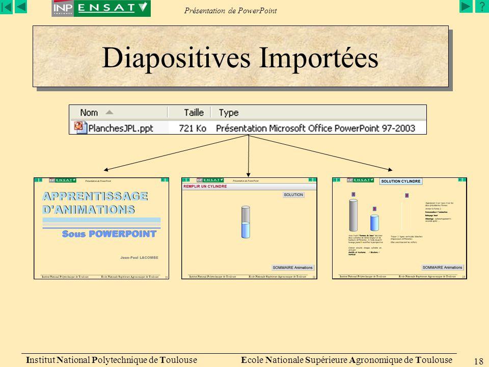 Présentation de PowerPoint Institut National Polytechnique de Toulouse Ecole Nationale Supérieure Agronomique de Toulouse 18 Diapositives Importées