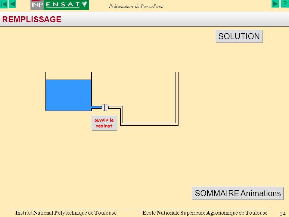 Présentation de PowerPoint Institut National Polytechnique de Toulouse Ecole Nationale Supérieure Agronomique de Toulouse 24 REMPLISSAGE SOLUTION ouvrir le robinet SOMMAIRE Animations