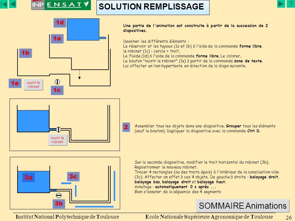 Présentation de PowerPoint Institut National Polytechnique de Toulouse Ecole Nationale Supérieure Agronomique de Toulouse 26 SOLUTION REMPLISSAGE 3b 3