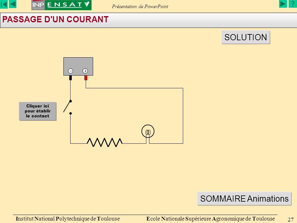 Présentation de PowerPoint Institut National Polytechnique de Toulouse Ecole Nationale Supérieure Agronomique de Toulouse 27 PASSAGE D'UN COURANT SOLU