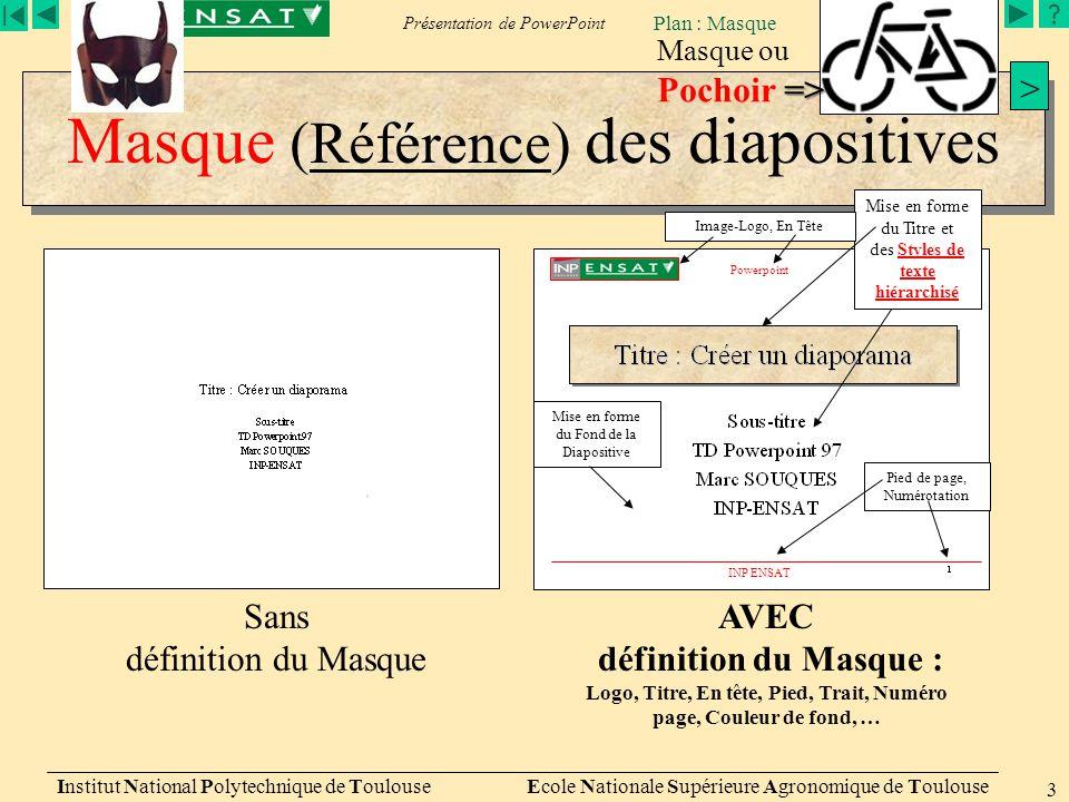 Présentation de PowerPoint Plan : Masque Institut National Polytechnique de Toulouse Ecole Nationale Supérieure Agronomique de Toulouse 3 Masque (Réfé