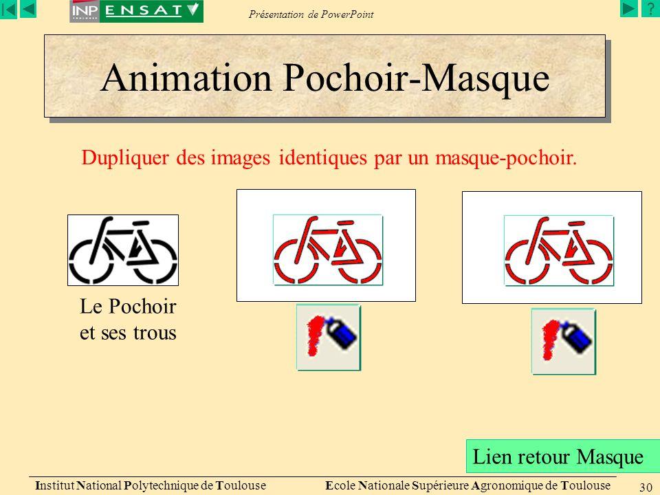 Présentation de PowerPoint Animation Pochoir-Masque Institut National Polytechnique de Toulouse Ecole Nationale Supérieure Agronomique de Toulouse 30 Le Pochoir et ses trous Dupliquer des images identiques par un masque-pochoir.
