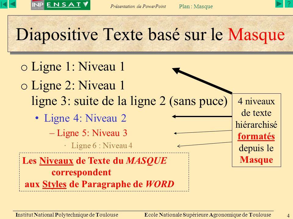 Présentation de PowerPoint Institut National Polytechnique de Toulouse Ecole Nationale Supérieure Agronomique de Toulouse 4 Diapositive Texte basé sur le Masque o Ligne 1: Niveau 1 o Ligne 2: Niveau 1 ligne 3: suite de la ligne 2 (sans puce) Ligne 4: Niveau 2 –Ligne 5: Niveau 3 ∙Ligne 6 : Niveau 4 4 niveaux de texte hiérarchisé formatés depuis le Masque Les Niveaux de Texte du MASQUE correspondent aux Styles de Paragraphe de WORD Plan : Masque