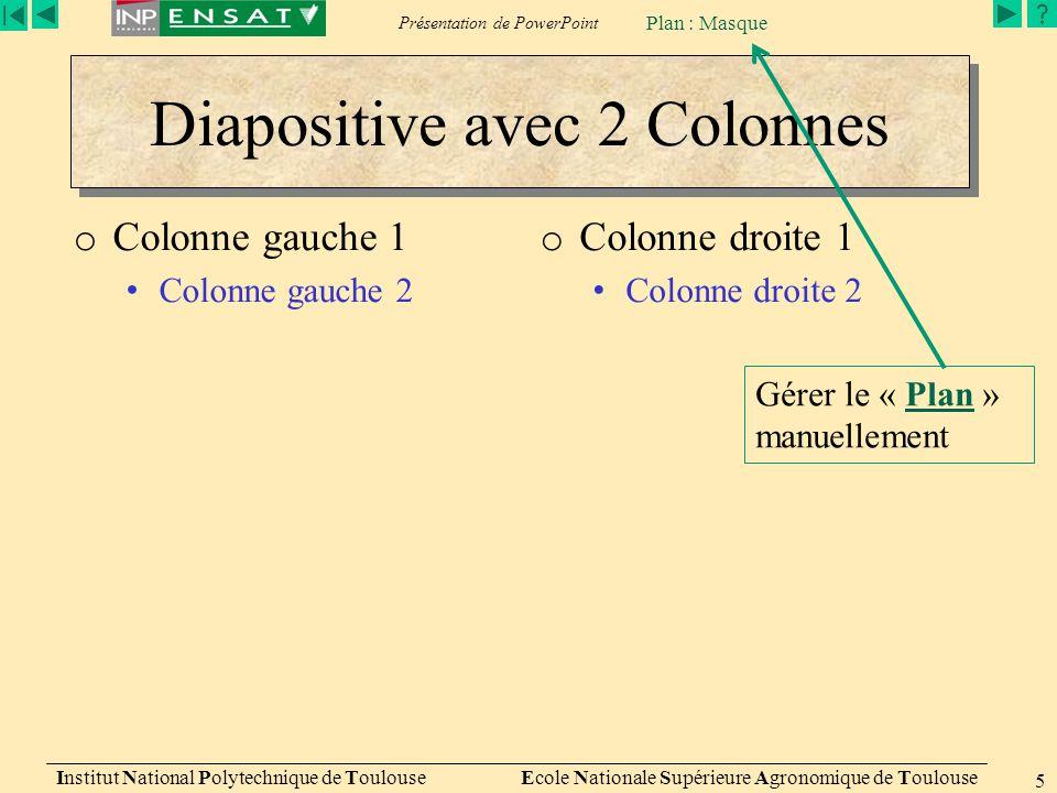 Présentation de PowerPoint Institut National Polytechnique de Toulouse Ecole Nationale Supérieure Agronomique de Toulouse 5 Diapositive avec 2 Colonne