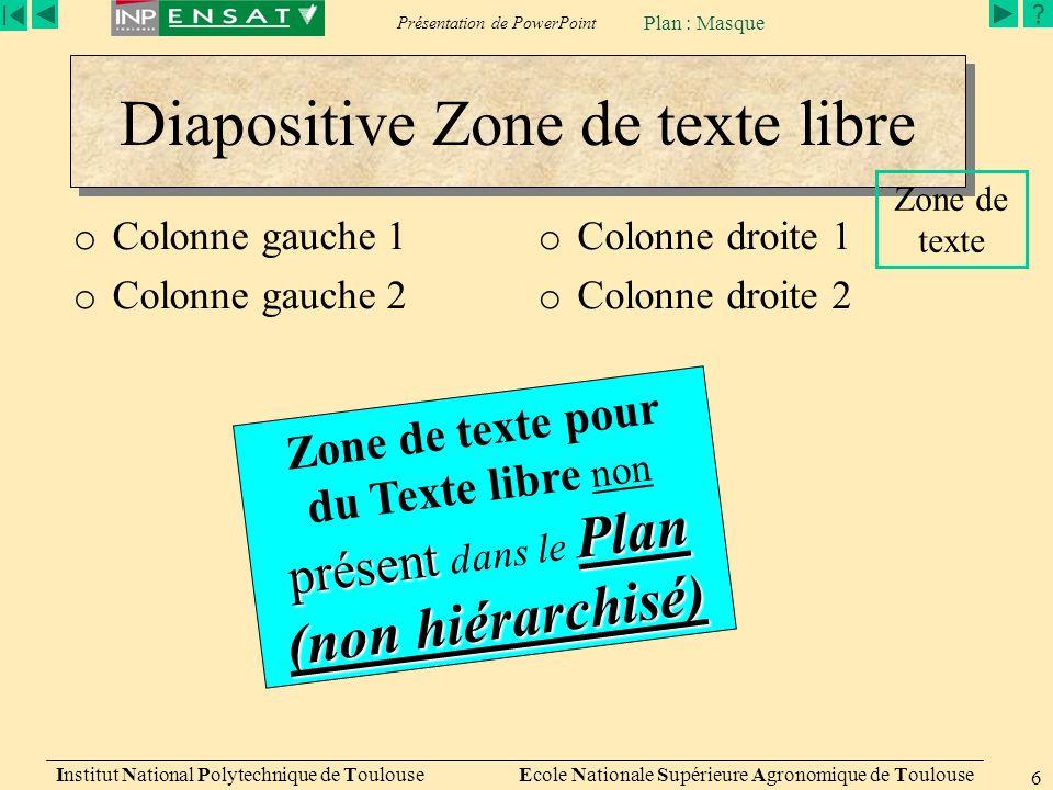 Présentation de PowerPoint Institut National Polytechnique de Toulouse Ecole Nationale Supérieure Agronomique de Toulouse 6 Diapositive Zone de texte