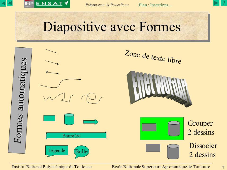 Présentation de PowerPoint Institut National Polytechnique de Toulouse Ecole Nationale Supérieure Agronomique de Toulouse 7 Diapositive avec Formes Lé
