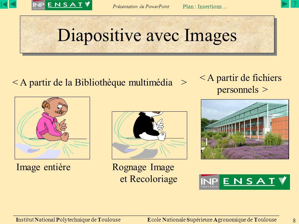 Présentation de PowerPoint Institut National Polytechnique de Toulouse Ecole Nationale Supérieure Agronomique de Toulouse 8 Diapositive avec Images Image entièreRognage Image et Recoloriage Plan : Insertions…