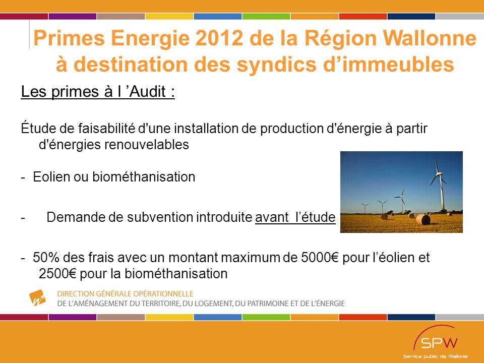 43 Primes Energie 2012 de la Région Wallonne à destination des syndics d'immeubles Les primes à l 'Audit : Étude de faisabilité d une installation de production d énergie à partir d énergies renouvelables - Eolien ou biométhanisation - Demande de subvention introduite avant l'étude - 50% des frais avec un montant maximum de 5000€ pour l'éolien et 2500€ pour la biométhanisation