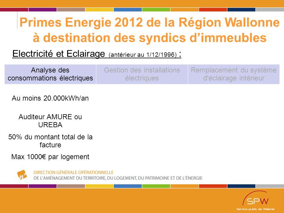 52 Primes Energie 2012 de la Région Wallonne à destination des syndics d'immeubles Electricité et Eclairage (antérieur au 1/12/1996) : Analyse des consommations électriques Gestion des installations électriques Remplacement du système d éclairage intérieur Au moins 20.000kWh/an Auditeur AMURE ou UREBA 50% du montant total de la facture Max 1000€ par logement