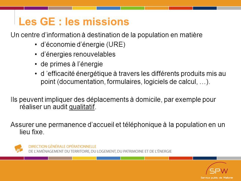 56 Les GE : les missions Un centre d'information à destination de la population en matière d'économie d'énergie (URE) d'énergies renouvelables de primes à l'énergie d 'efficacité énergétique à travers les différents produits mis au point (documentation, formulaires, logiciels de calcul, …).