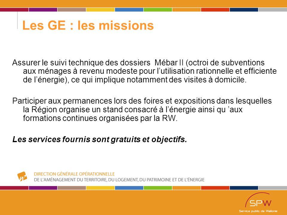 57 Les GE : les missions Assurer le suivi technique des dossiers Mébar II (octroi de subventions aux ménages à revenu modeste pour l'utilisation rationnelle et efficiente de l'énergie), ce qui implique notamment des visites à domicile.