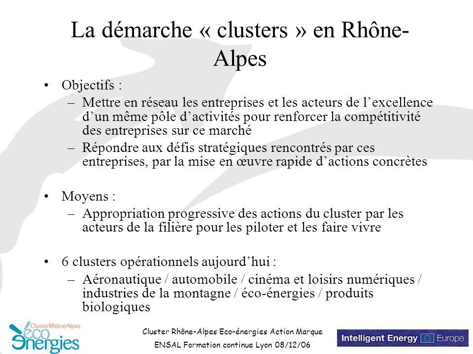 Cluster Rhône-Alpes Eco-énergies Action Marque ENSAL Formation continue Lyon 08/12/06 La démarche « clusters » en Rhône- Alpes Objectifs : –Mettre en réseau les entreprises et les acteurs de l'excellence d'un même pôle d'activités pour renforcer la compétitivité des entreprises sur ce marché –Répondre aux défis stratégiques rencontrés par ces entreprises, par la mise en œuvre rapide d'actions concrètes Moyens : –Appropriation progressive des actions du cluster par les acteurs de la filière pour les piloter et les faire vivre 6 clusters opérationnels aujourd'hui : –Aéronautique / automobile / cinéma et loisirs numériques / industries de la montagne / éco-énergies / produits biologiques