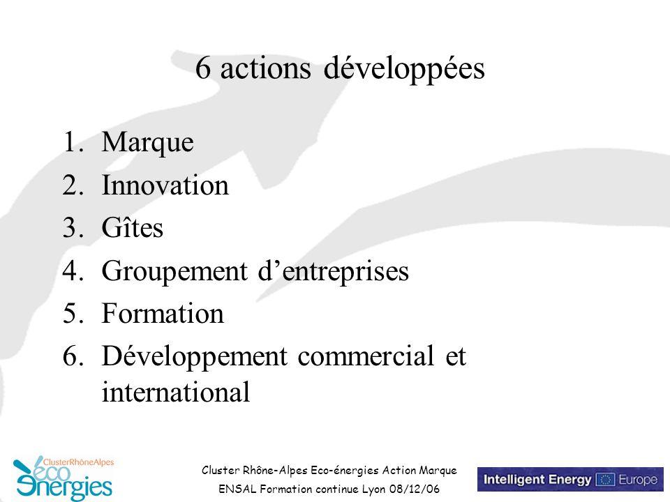Cluster Rhône-Alpes Eco-énergies Action Marque ENSAL Formation continue Lyon 08/12/06 6 actions développées 1.Marque 2.Innovation 3.Gîtes 4.Groupement d'entreprises 5.Formation 6.Développement commercial et international
