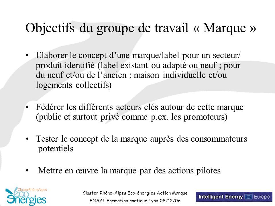 Cluster Rhône-Alpes Eco-énergies Action Marque ENSAL Formation continue Lyon 08/12/06 Objectifs du groupe de travail « Marque » Elaborer le concept d'