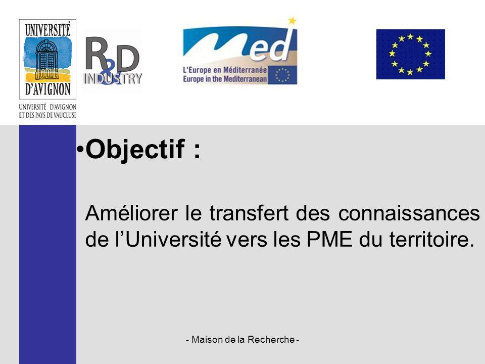 - Maison de la Recherche - Améliorer le transfert des connaissances de l'Université vers les PME du territoire. Objectif :