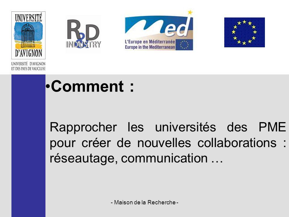 Rapprocher les universités des PME pour créer de nouvelles collaborations : réseautage, communication … - Maison de la Recherche - Comment :
