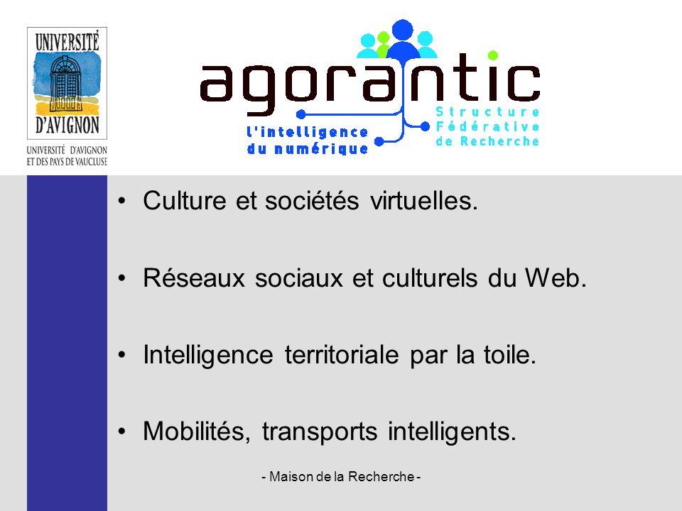 Culture et sociétés virtuelles. Réseaux sociaux et culturels du Web. Intelligence territoriale par la toile. Mobilités, transports intelligents. - Mai