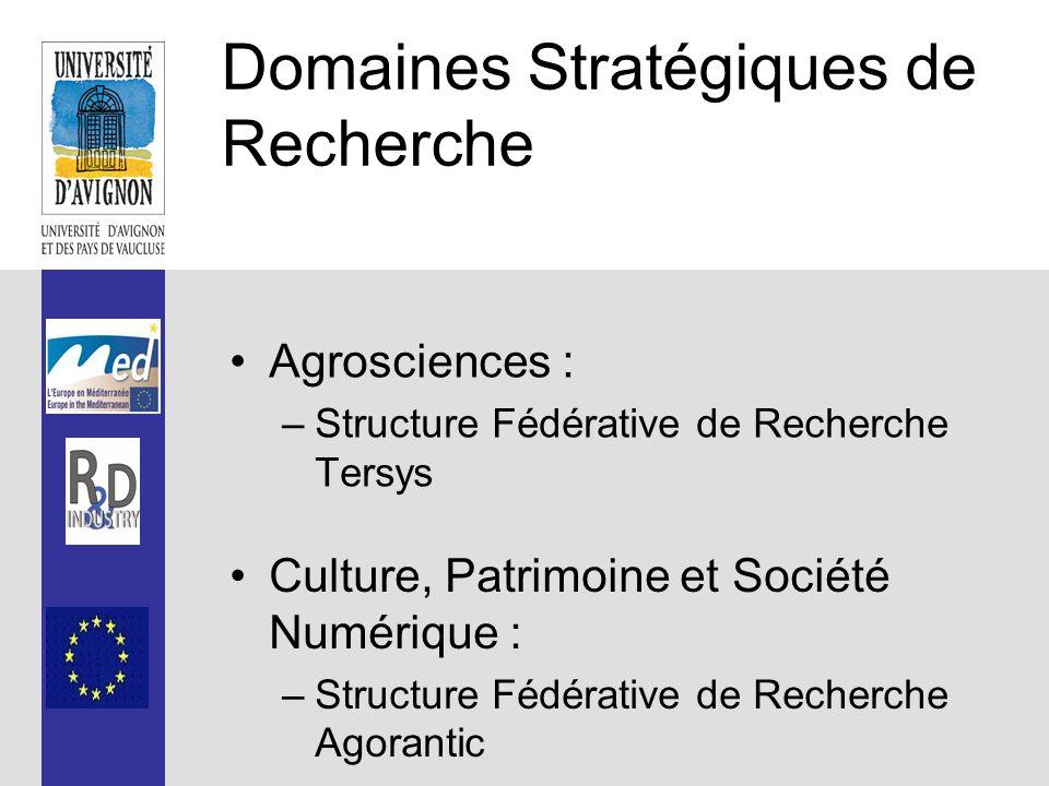 Domaines Stratégiques de Recherche Agrosciences : –Structure Fédérative de Recherche Tersys Culture, Patrimoine et Société Numérique : –Structure Fédérative de Recherche Agorantic