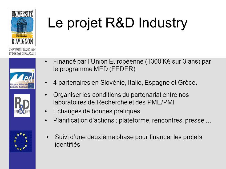 Le projet R&D Industry Financé par l'Union Européenne (1300 K€ sur 3 ans) par le programme MED (FEDER).