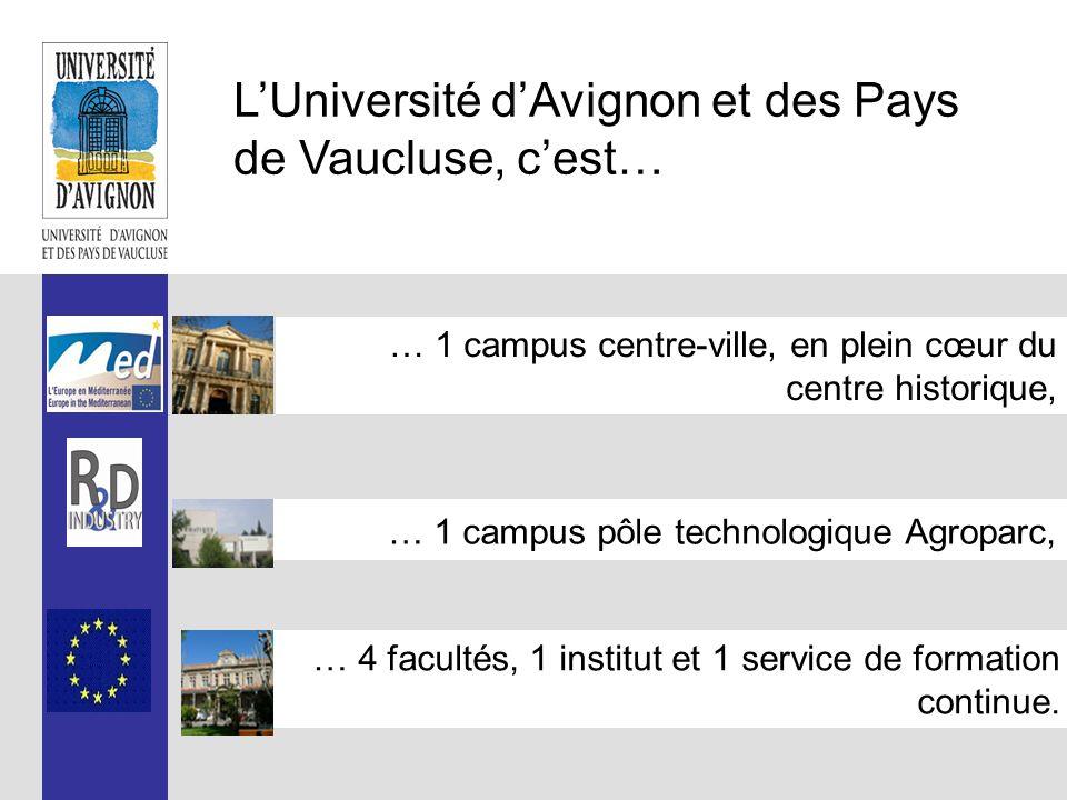 L'Université d'Avignon et des Pays de Vaucluse, c'est… … 1 campus centre-ville, en plein cœur du centre historique, … 1 campus pôle technologique Agroparc, … 4 facultés, 1 institut et 1 service de formation continue.
