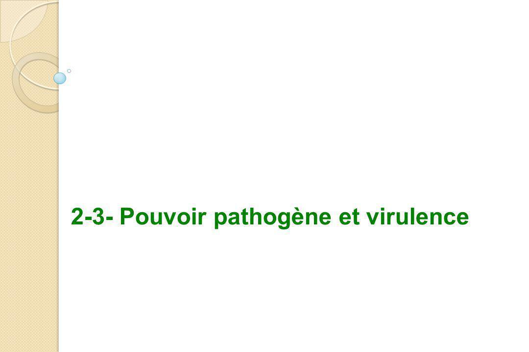2-3- Pouvoir pathogène et virulence