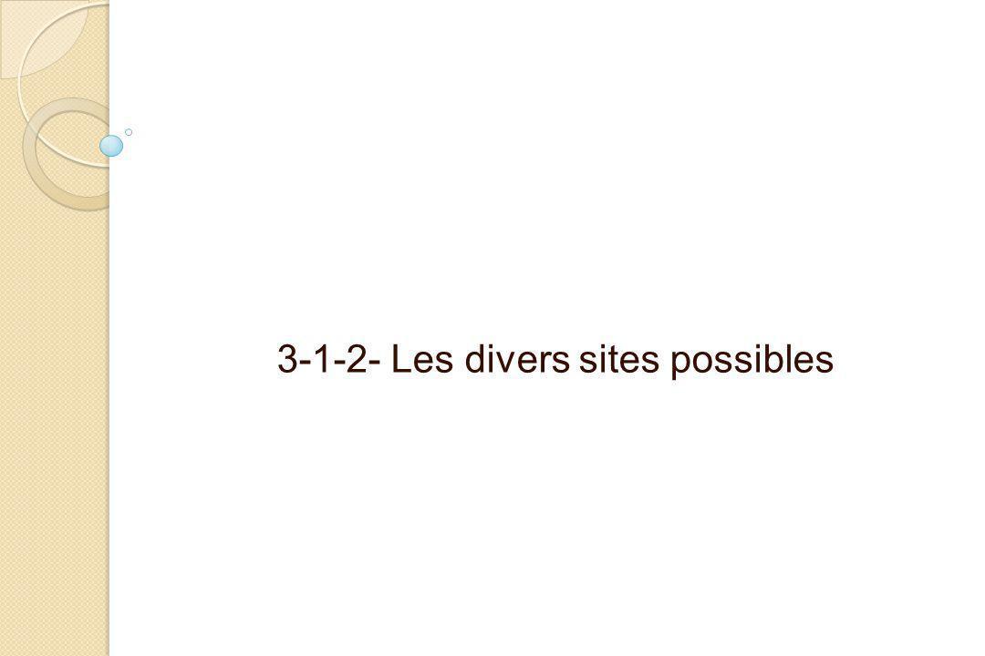 3-1-2- Les divers sites possibles