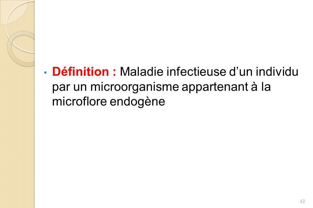 Définition : maladie infectieuse d'un individu par un