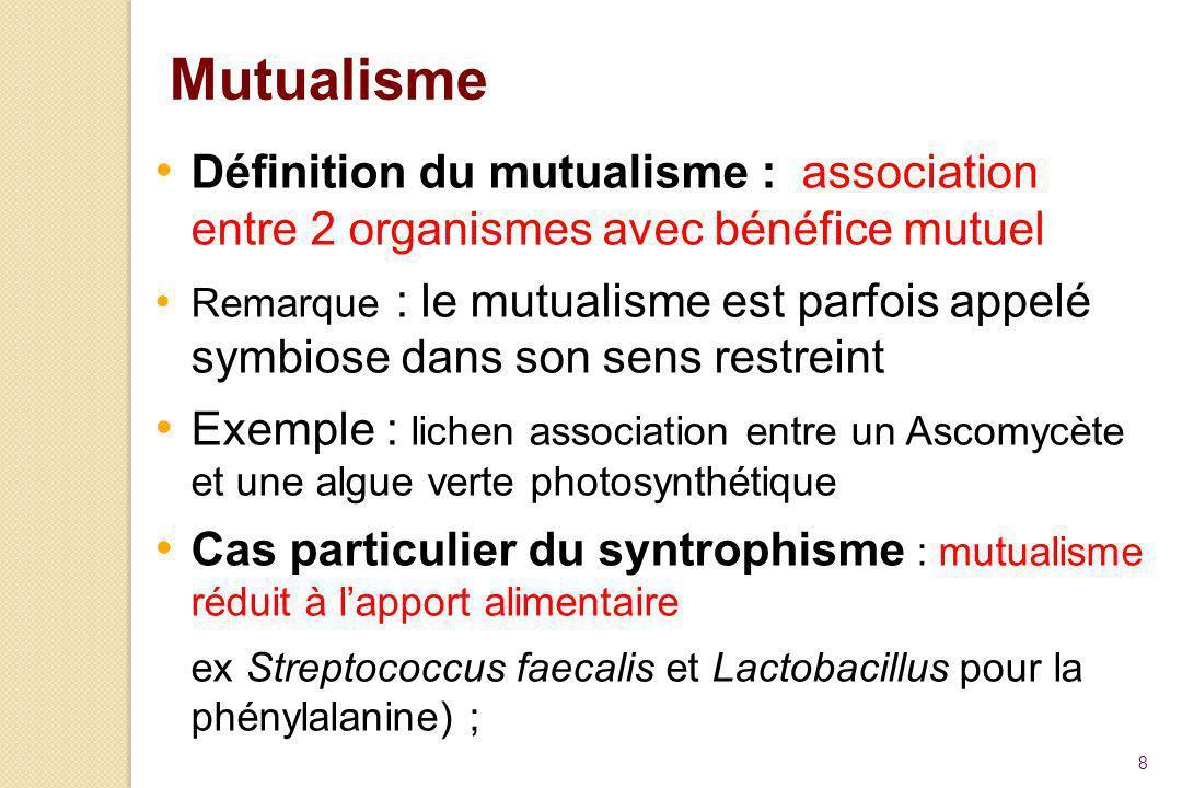 8 Mutualisme Définition du mutualisme : association entre 2 organismes avec bénéfice mutuel Remarque : le mutualisme est parfois appelé symbiose dans