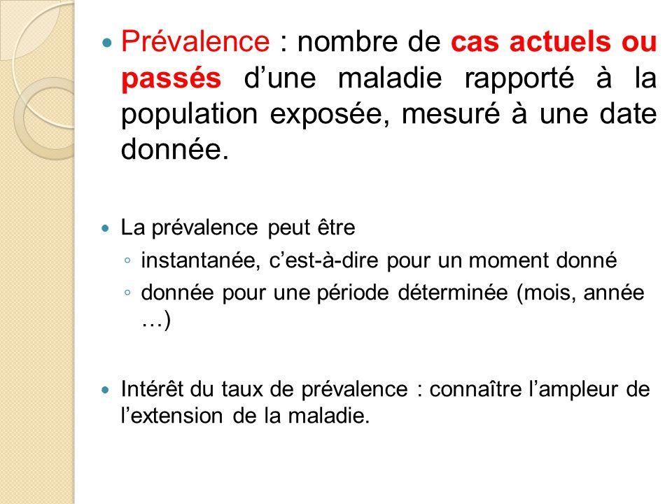 Prévalence : nombre de cas actuels ou passés d'une maladie rapporté à la population exposée, mesuré à une date donnée.