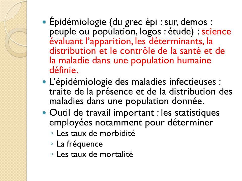 Épidémiologie (du grec épi : sur, demos : peuple ou population, logos : étude) : science évaluant l'apparition, les déterminants, la distribution et le contrôle de la santé et de la maladie dans une population humaine définie.