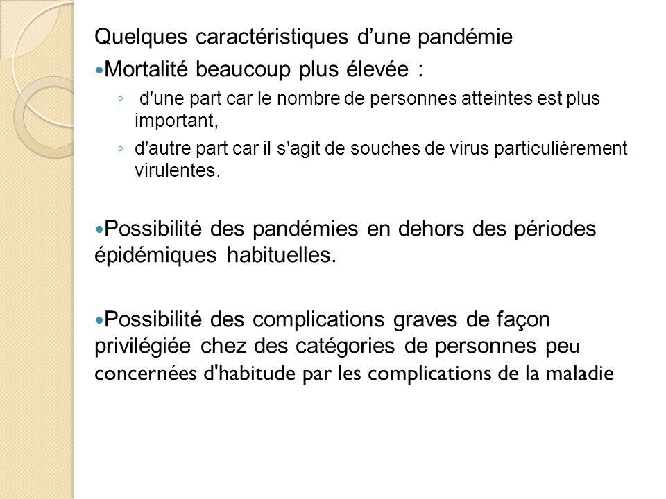 Quelques caractéristiques d'une pandémie Mortalité beaucoup plus élevée : ◦ d une part car le nombre de personnes atteintes est plus important, ◦ d autre part car il s agit de souches de virus particulièrement virulentes.