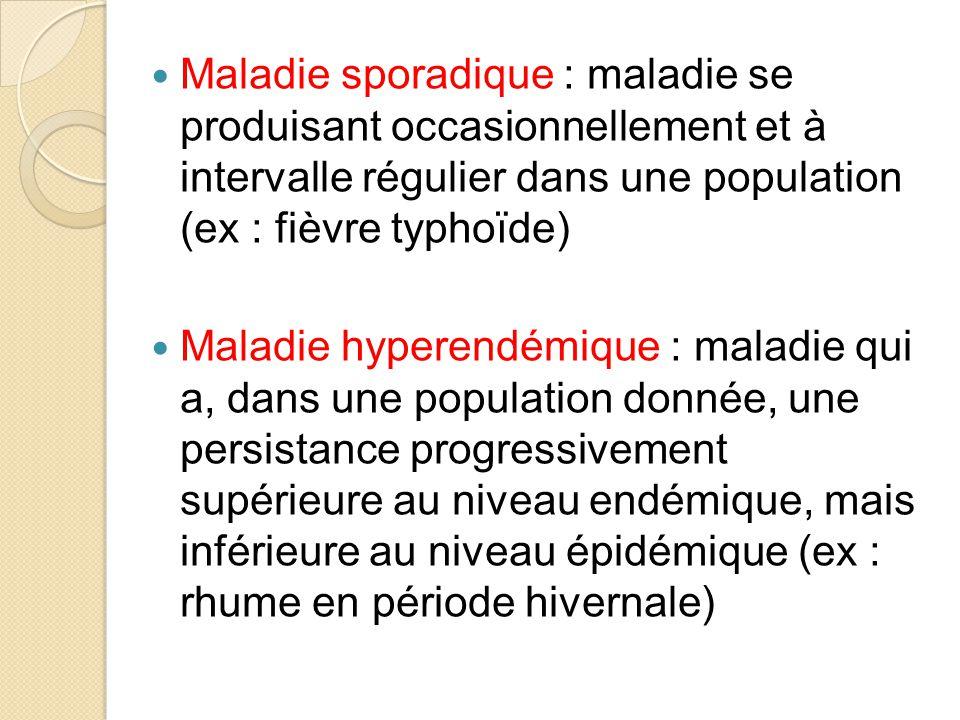 Maladie sporadique : maladie se produisant occasionnellement et à intervalle régulier dans une population (ex : fièvre typhoïde) Maladie hyperendémique : maladie qui a, dans une population donnée, une persistance progressivement supérieure au niveau endémique, mais inférieure au niveau épidémique (ex : rhume en période hivernale)