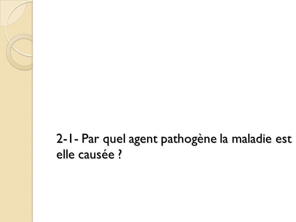 2-1- Par quel agent pathogène la maladie est elle causée ?