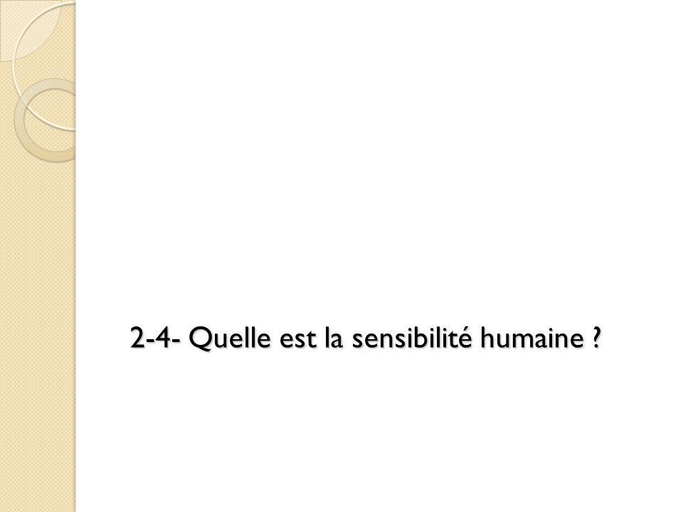 2-4- Quelle est la sensibilité humaine ?