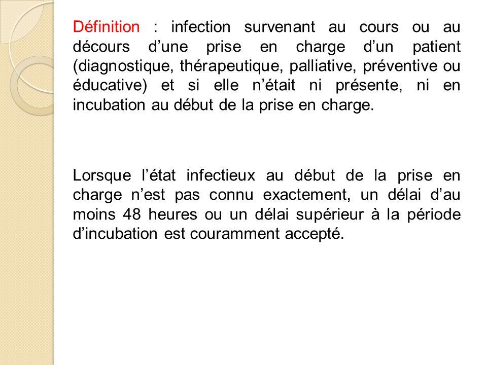 Définition : infection survenant au cours ou au décours d'une prise en charge d'un patient (diagnostique, thérapeutique, palliative, préventive ou éducative) et si elle n'était ni présente, ni en incubation au début de la prise en charge.