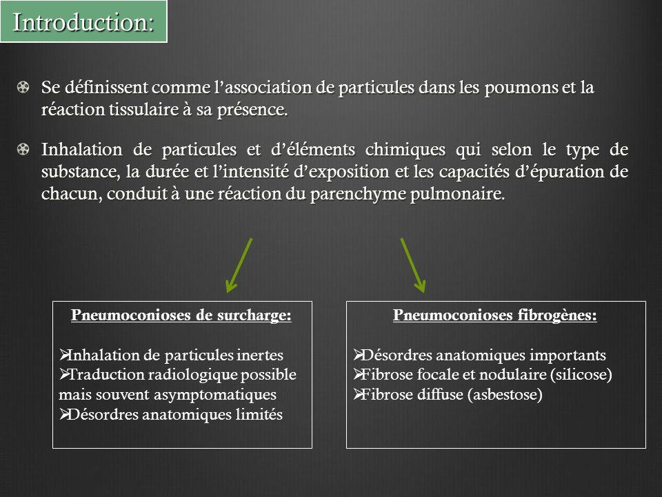Introduction: Se définissent comme l'association de particules dans les poumons et la réaction tissulaire à sa présence. Inhalation de particules et d