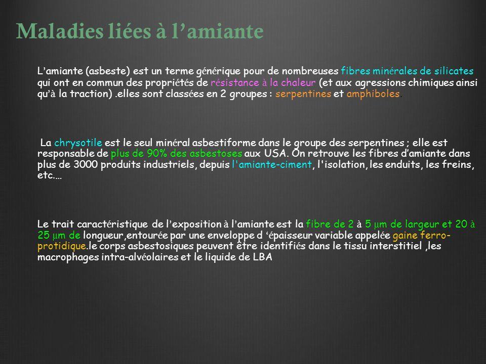 Maladies liées à l'amiante L ' amiante (asbeste) est un terme g é n é rique pour de nombreuses fibres min é rales de silicates qui ont en commun des p